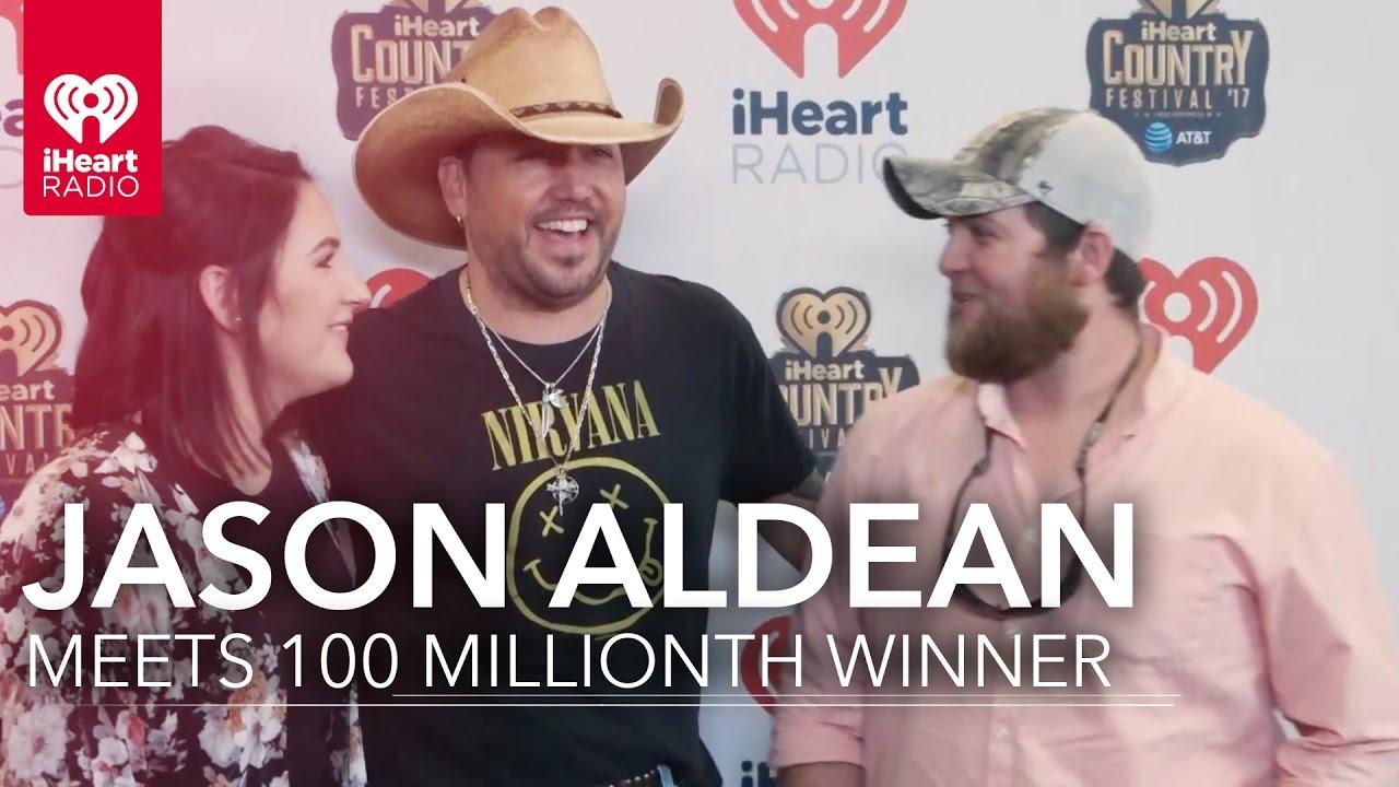 Jason Aldean Meets Fan At Iheartcountry 100 Millionth Iheartradio