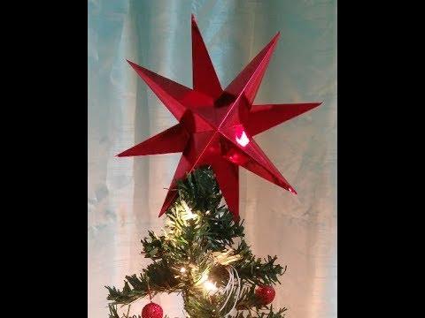 How to make a Star Christmas Tree Topper, DIY Star Christmas Ornament, How to make a 3D Paper Star