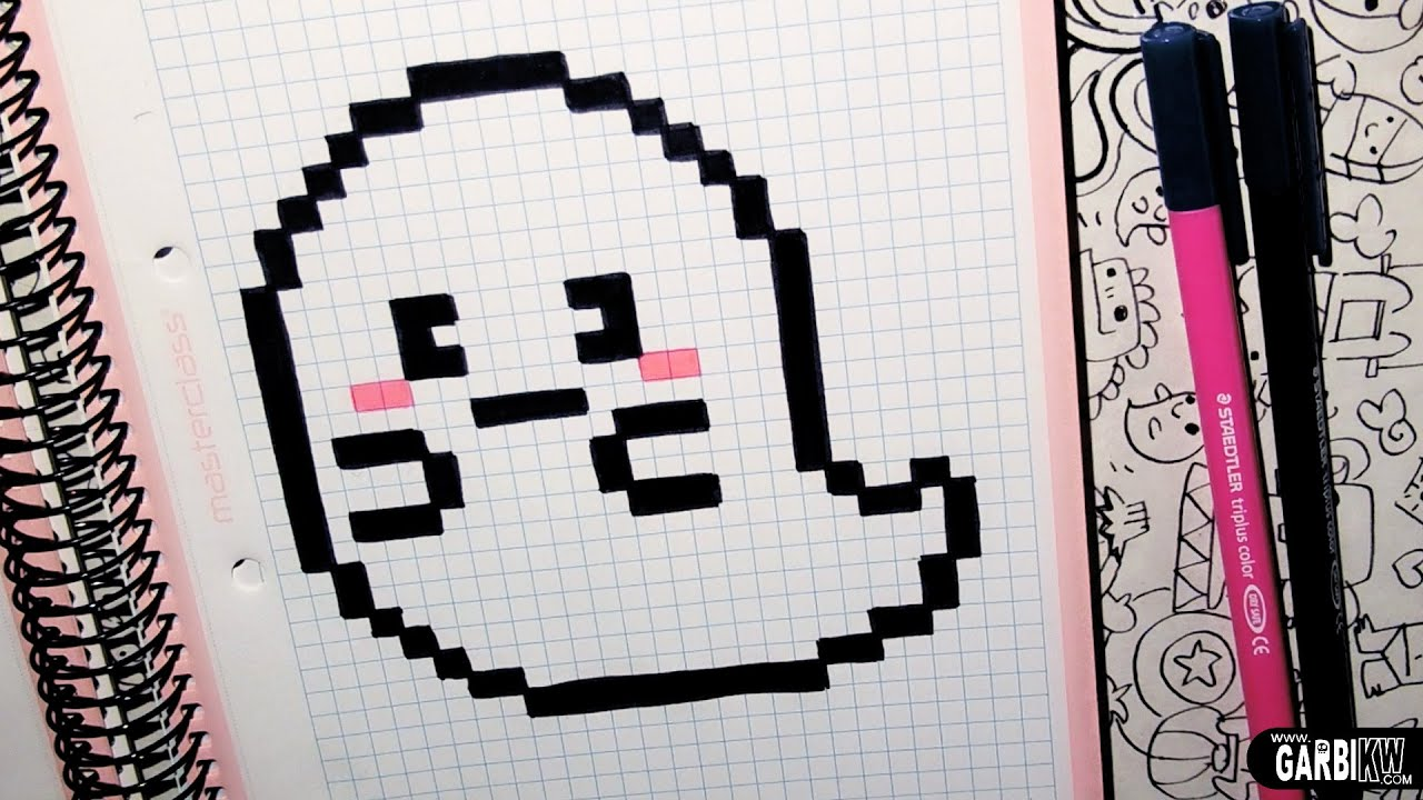 handmade pixel art how to draw a cute ghost by garbi kw youtube