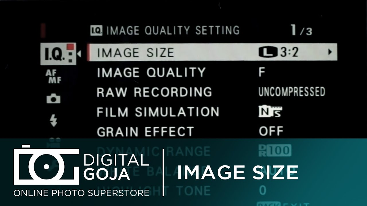 Fujifilm X T2 How To Set Image Size Video Tutorial Youtube