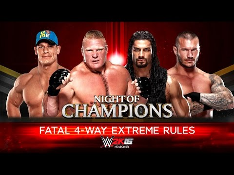 WWE 2K16 - John Cena Vs Roman Reigns Vs Brock Lesnar Vs Randy Orton | Fatal 4 Way Extreme Rules