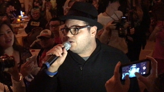 Josh Gad (LeFou) surprise appearance in Be Our Guest Restaurant at Walt Disney World