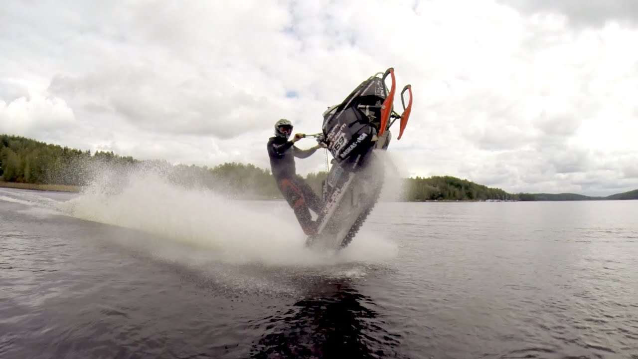 Funny Video: Snowmobile Wheelies On The Water