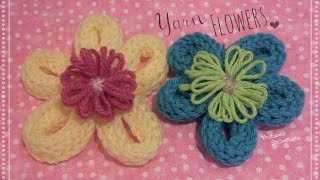 Yarn Flower - How To - Loom Knitting DIY Thumbnail