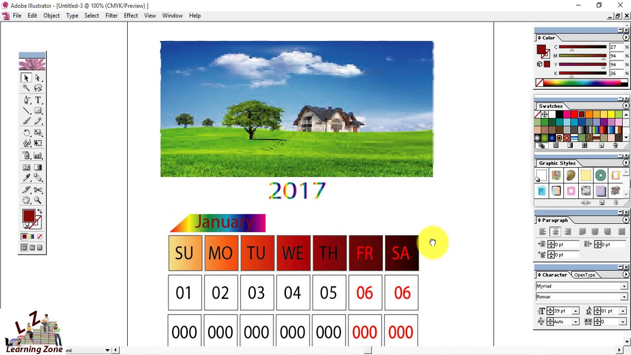 Calendar Design Illustrator : How to create a beautiful calendar design format in adobe