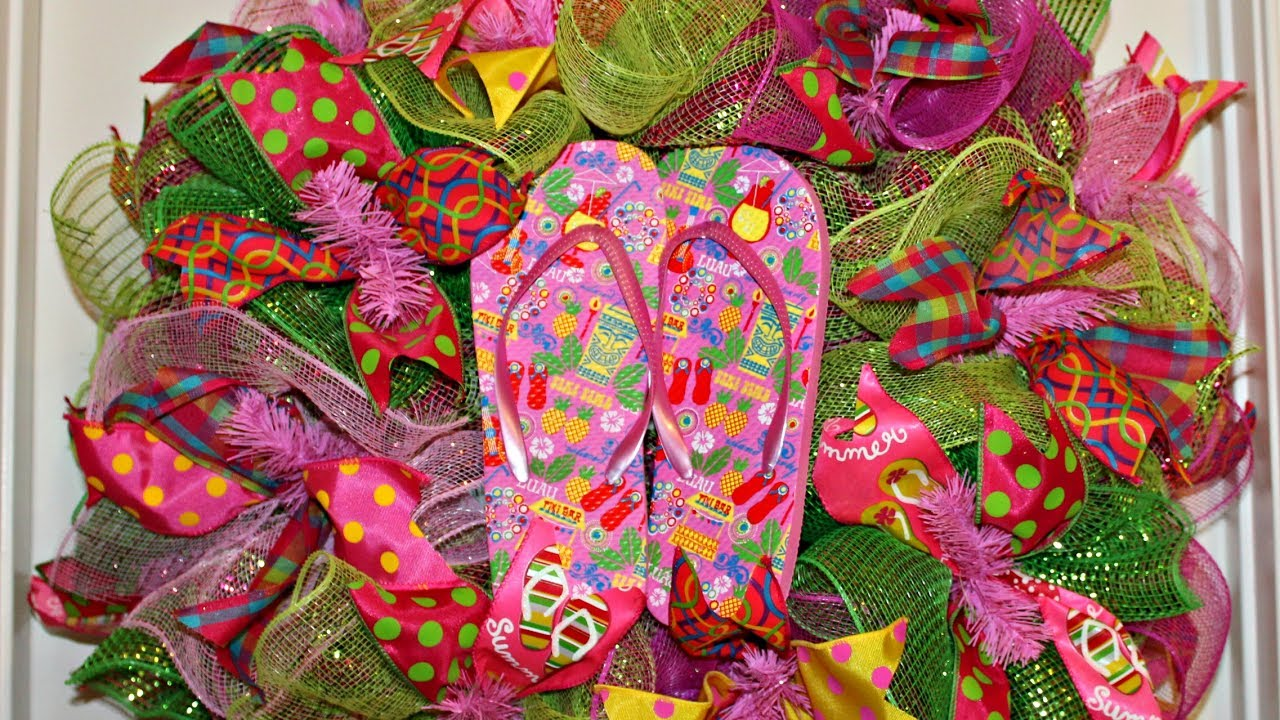 6ebaa6aff How to make a colorful deco mesh flip flop wreath poof and ruffle ...