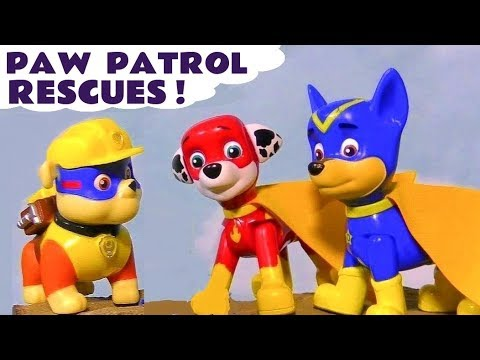 Paw Patrol to the Rescue toy stories with Mighty Pups and