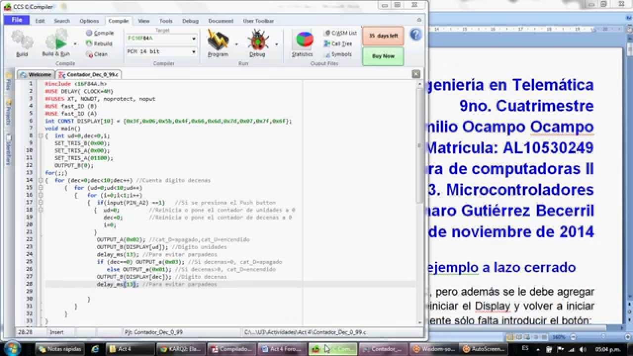 Contador Decimal de 0-99, con PIC16F84A, CCS C Compiler y Proteus