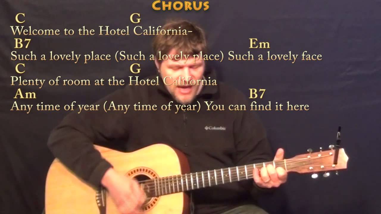 Hotel California Strum Guitar Cover Lesson In Em With Chords Lyrics Youtube