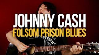 Как играть кантри на гитаре Johnny Cash Folsom Prison Blues [вместе с соло]