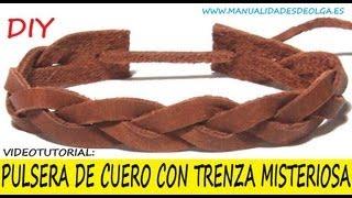 COMO HACER UNA PULSERA CON TRENZA MISTERIOSA DE CUERO PARA HOMBRE . VIDEOTUTORIAL TUTORIAL DIY
