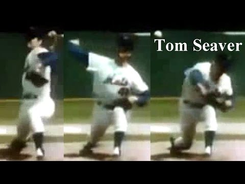"Tom Seaver ""crouch down by wrenching the knee on the foreleg"" Pitching Mechanics Slow Motion"
