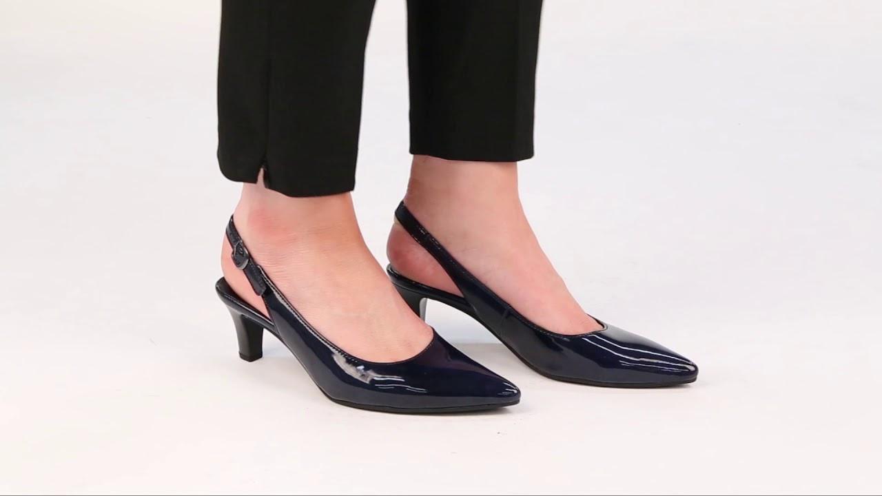 Gabor Hume Marine Patent Womens Slingback Shoes - YouTube 0f7ef99eb7