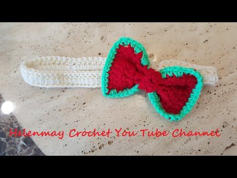 Crochet Easy Elastic Headband With Bow Diy Tutorial Youtube