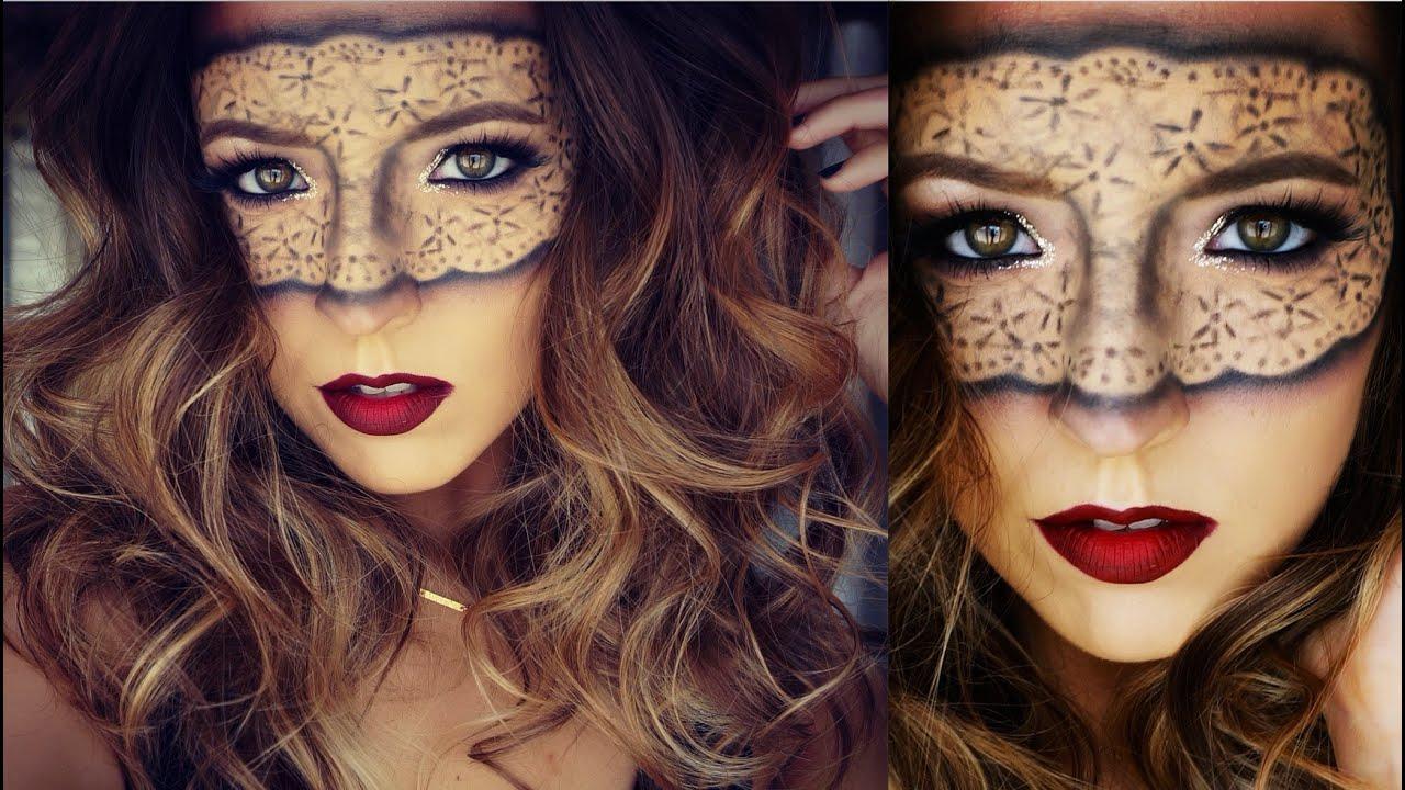 Masquerade Lace Mask Halloween Makeup Tutorial | Ashley Landry ...
