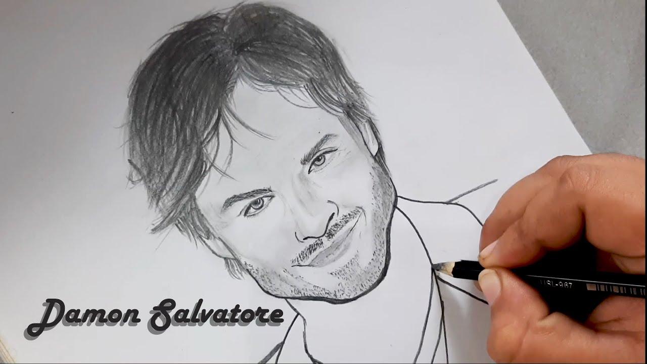 Drawing Ian Somerhalder (Damon Salvatore) Sketch - Art by Sketcher