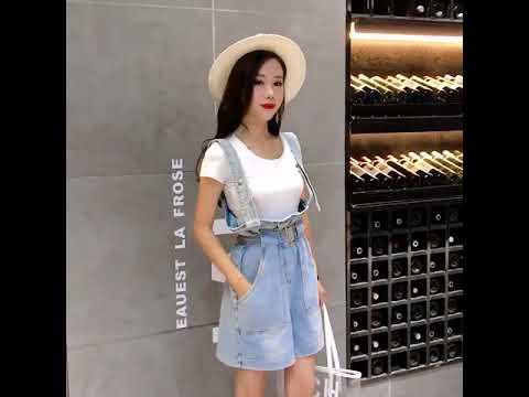 rxfashioon school girls blue high paper waist denim overalls for women short jean bottoms 1