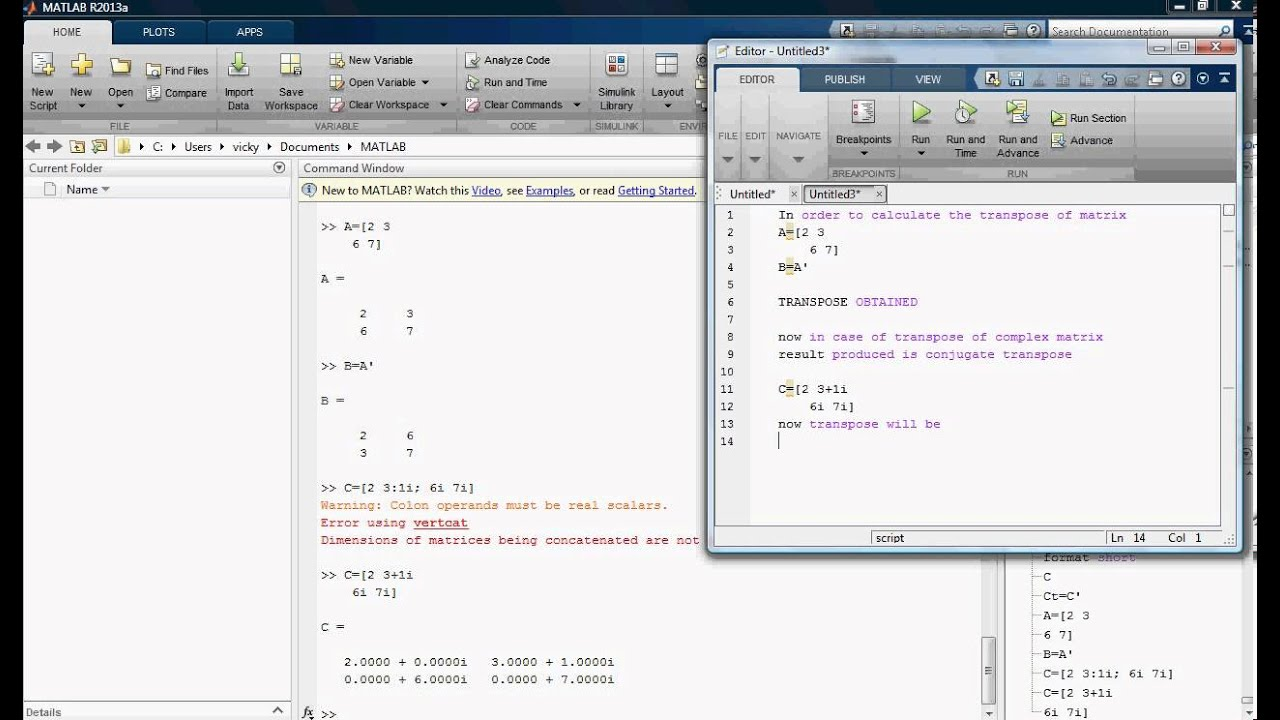 matrices in matlab Matlab matlab is a tool for doing numerical computations with matrices and vectors it can also display information graphically the best way to learn what matlab can do is to work through some examples at the computer.