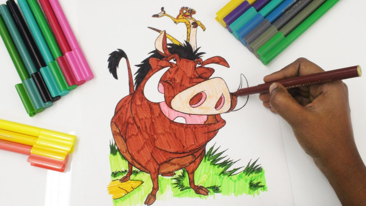 coloring timon u0026 pumbaa from the lion king colouring book pages