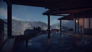 Video Game Ambience Asmr - (Hitman) Relaxing Spa | Flowing Water Sounds | Hokkaido Japan