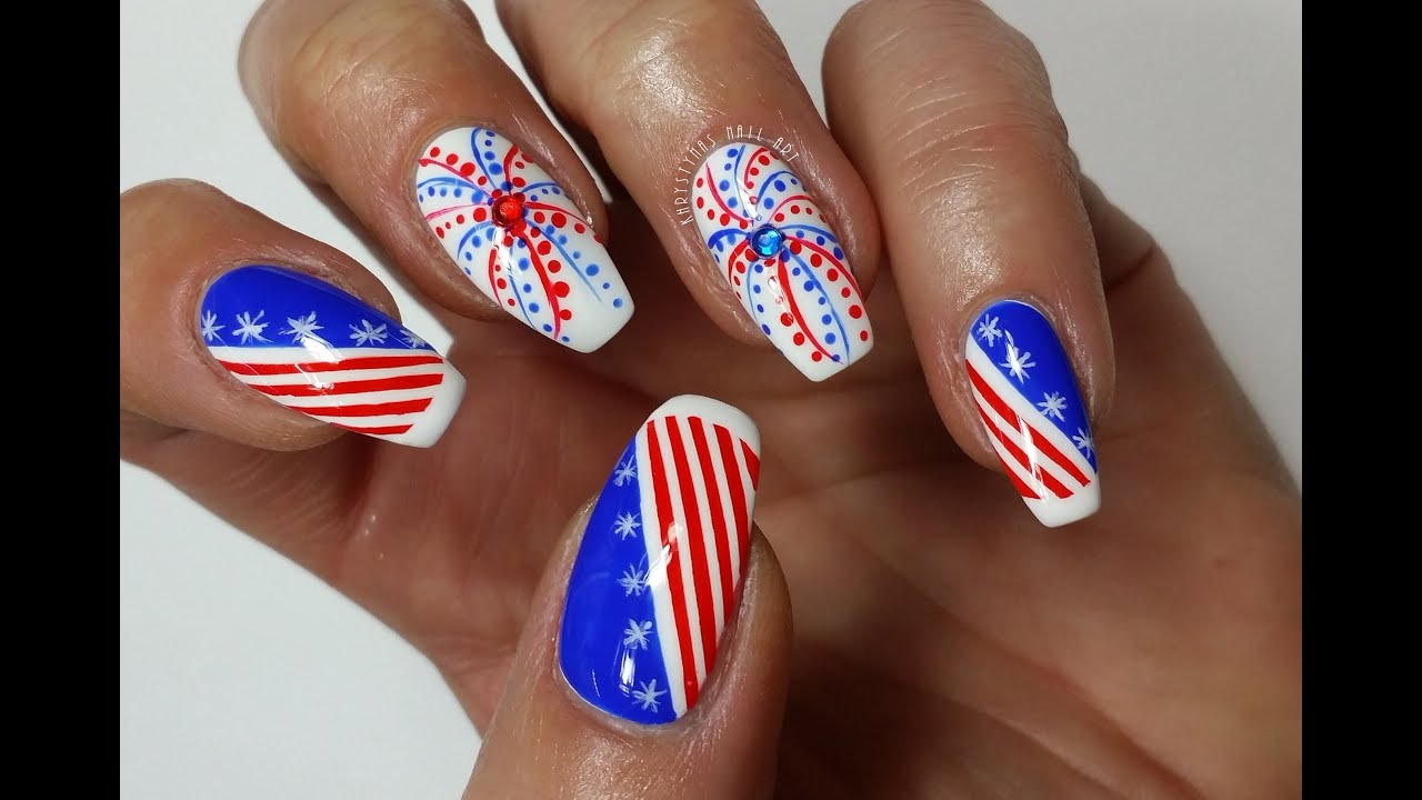 4th Of July Nails!!! Nail Art Tutorial #2 (Khrystynas Nail Art ...