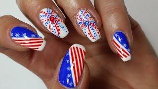4th Of July Nails!!! Nail Art Tutorial #2 (Khrystynas Nail Art)