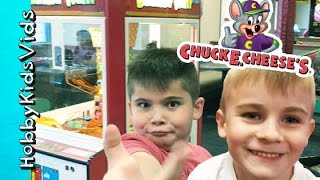 Chuck E Cheese Arcade! TICKET BONUS WIN + Family Fun Gaming HobbyKidsTV