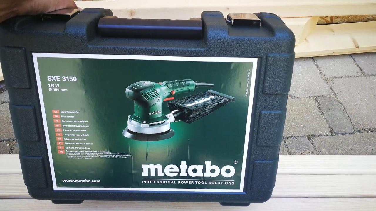 unpacking / unboxing random orbital sander metabo sxe 3150 600444500