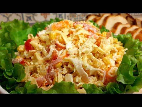Вы ТОЧНО полюбите этот КРАБОВЫЙ Салат. Вкусный САЛАТ с КРАБОВЫМИ палочками и ЯИЧНЫМИ блинчиками