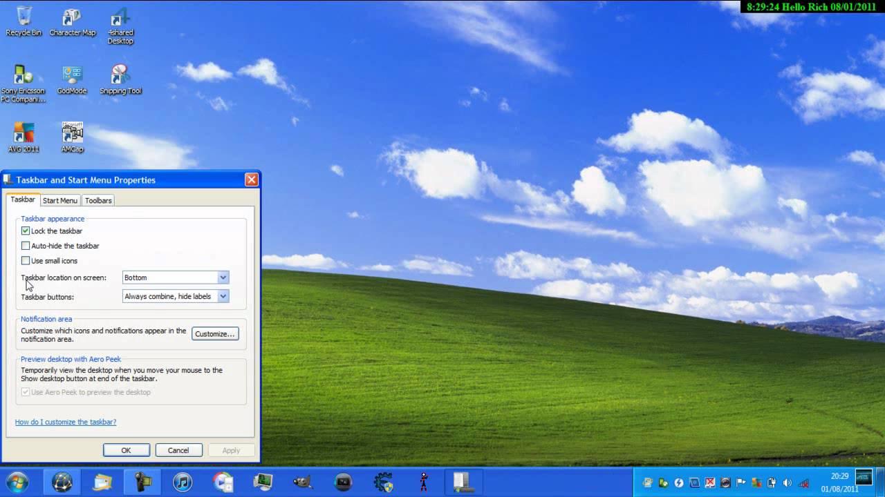Cách Biến Thanh Tác Vụ Của Windows XP Giống Như Của Windows 7 - VERA STAR