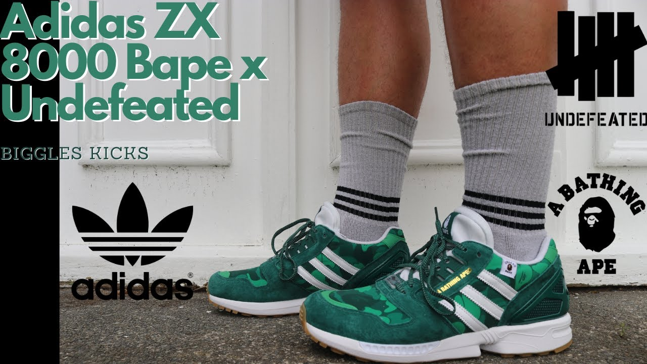 sacerdote absceso imagen  Adidas ZX 8000 x Bape x Undefeated: Sneaker Review - YouTube