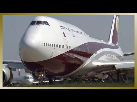 Qatar VIP Boeing 747-8 VQ-BSK departing Hamburg Airport