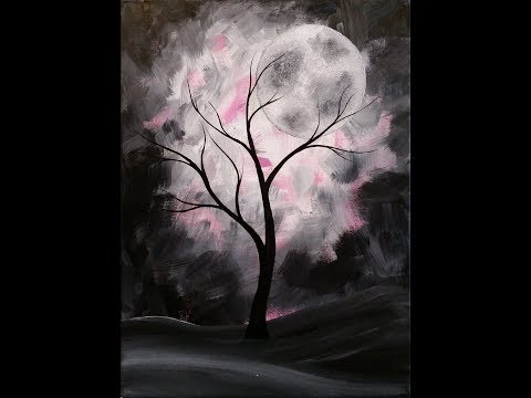 Mystical Moon Step by Step Acrylic Painting on Canvas for Beginners