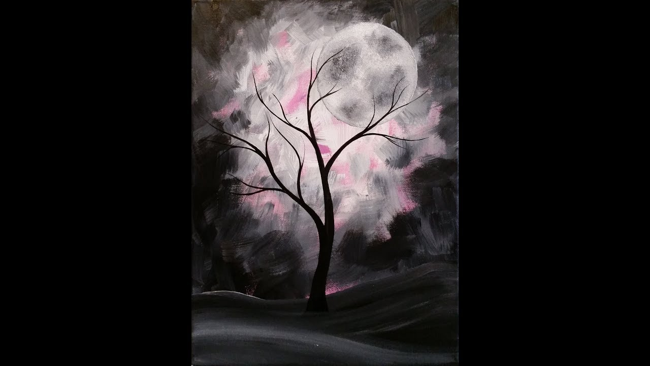 Mystical Moon Step By Step Acrylic Painting On Canvas For