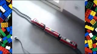 train lego moteur record vitesse (20m de rail )