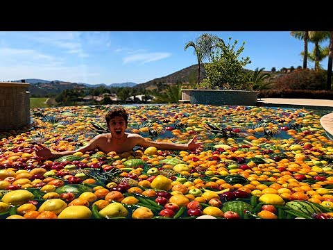 I Turned my Swimming Pool into a FRUIT SALAD...