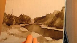 Уроки живописи маслом. Фламандская техника. Осенний пейзаж. Часть 1.