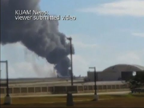 Raw: B-52 Crashes at Guam Air Base