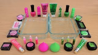 Mixing Makeup Eyeshadow Into Slime  Pink vs Green Special Series Part 13 Satisfying Slime Video