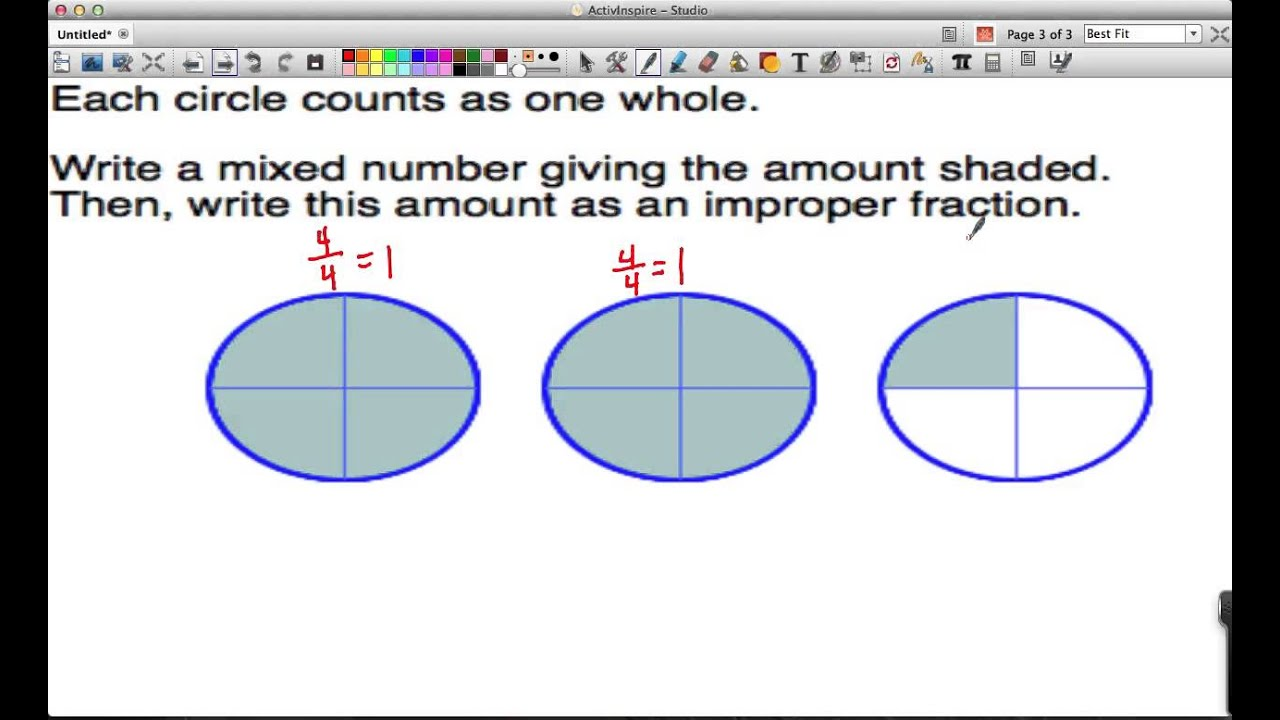 Creating Mixed Numbers Improper Fractions From Pictures Youtube