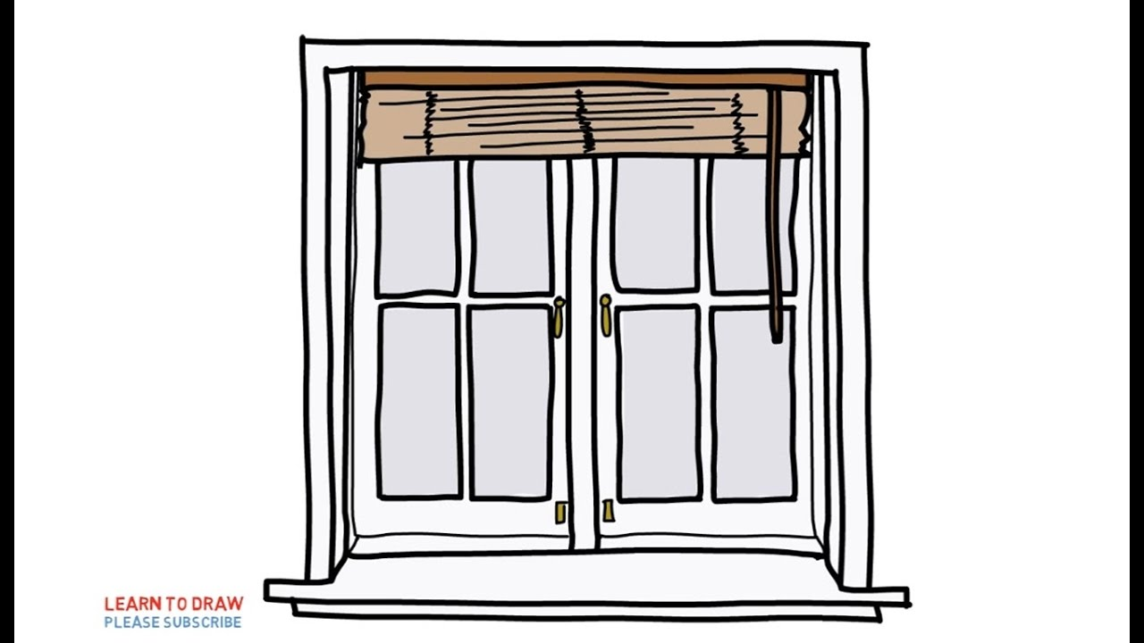 Easy step for kids how to draw a windows with blinds youtube Simple drawing program for windows