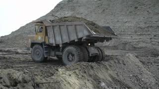 Soviet dozer tractor T-170 & BelAZ dump truck