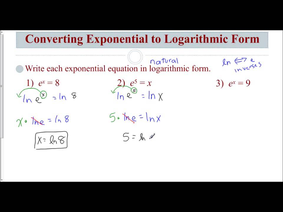 Lesson 8.7 - Converting from Exponential to Logarithmic Form - YouTube