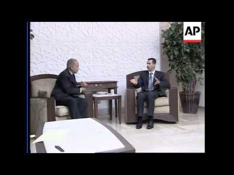 President Assad meeting the Egyptian FM Ahmed Aboul Gheit