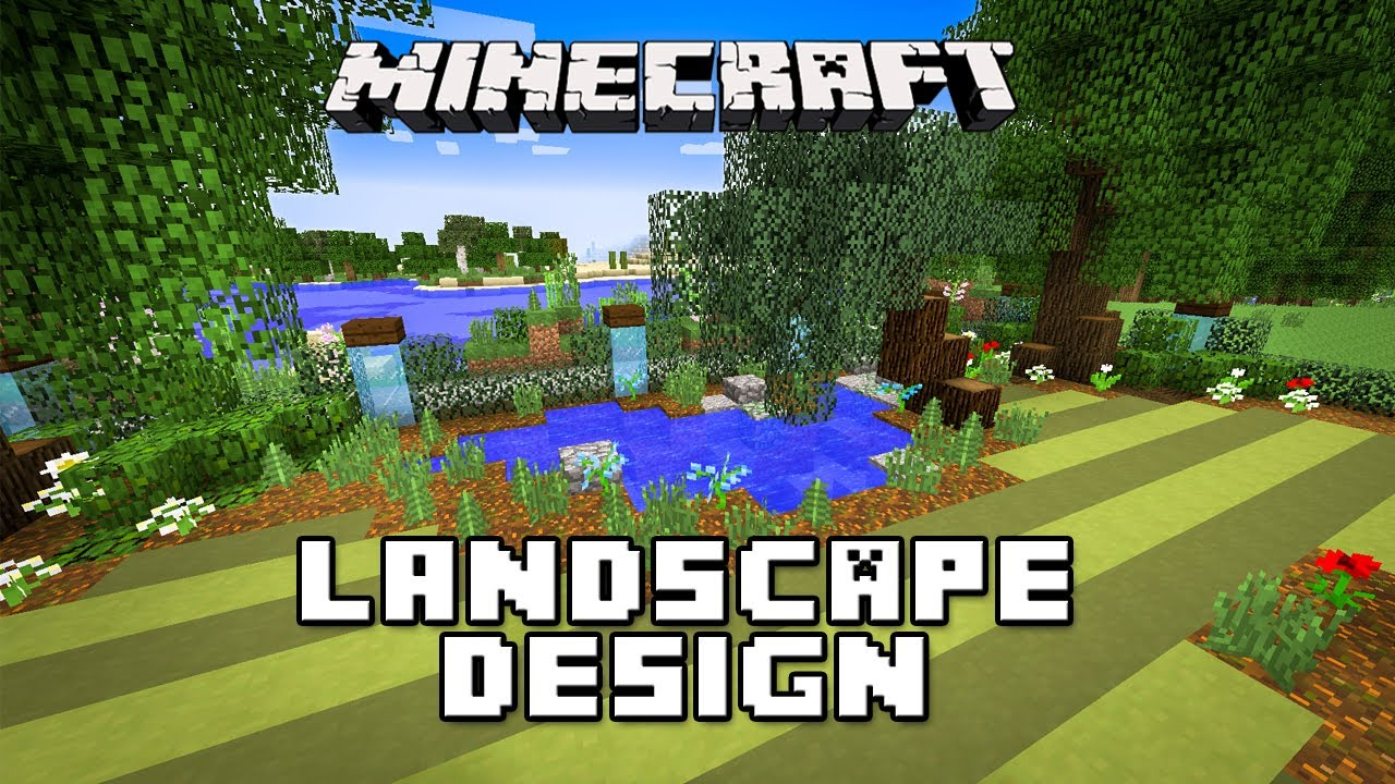 minecraft tutorial: landscaping design for pond, trees and lawn