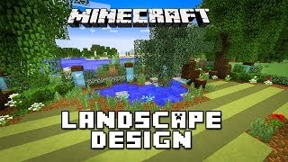 Gambar cover Minecraft Tutorial: Landscaping Design For Pond, Trees And Lawn (Modern House Build Ep. 24)