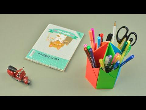DIY Pen holder -  Khay đựng bút bằng giấy màu | Khéo tay