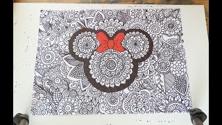 How to draw-- Minnie Mouse zentangle
