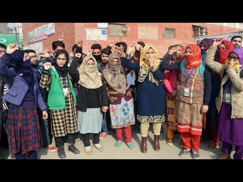Kashmir nursing students protest against delay in result