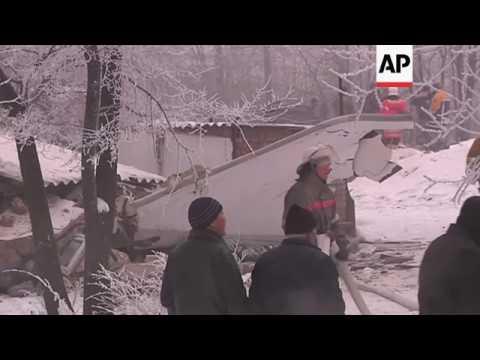 Raw: Cargo Plane Hits Kyrgyzstan Neighborhood